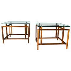 Pair of Rosewood and Glass Side Tables by Henning Norgaard, circa 1965