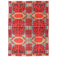 Vibrant Vintage Rug with Mid-Century Modern and Geometric Design
