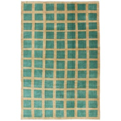 Green Vintage Turkish Mid-Century Modern Rug with Geometric Checkerboard Pattern
