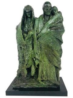 Attilio Piccirilli Signed Bronze Sculpture Family 4/5, Midcentury