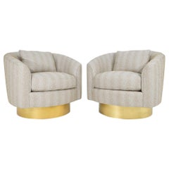 Pair of Like New Bernhardt Swivel Lounge Chairs