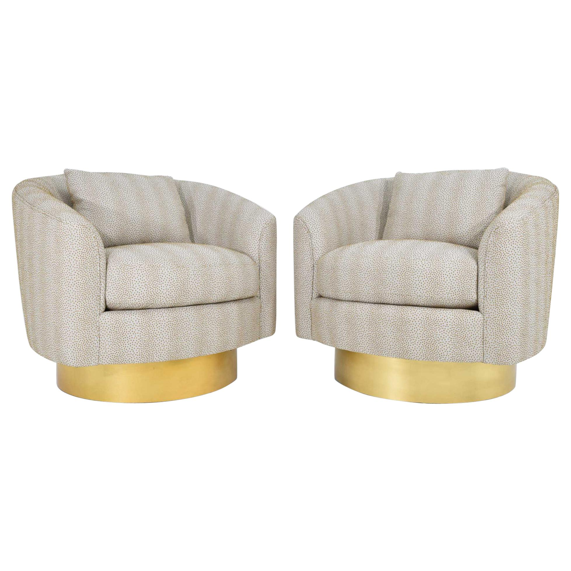 Pair Of Like New Bernhardt Swivel Lounge Chairs For Sale