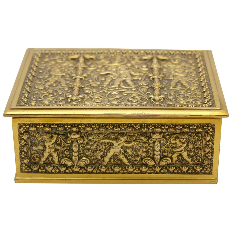 French Jewelry Casket, Cast Gilt Brass with Panels of Angels Scenes Signed For Sale
