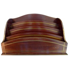 19th Century Inlaid Rosewood Stationery Holder with Four Separate Compartments