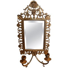 Italian 19th Century Gold-Leaf Mirrored Two-Light Sconce with Original Mirror