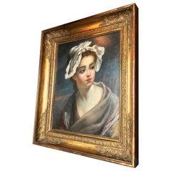 "18th Century School of Jean Baptiste Greuze ""Peasant Child in a white bonnet"""