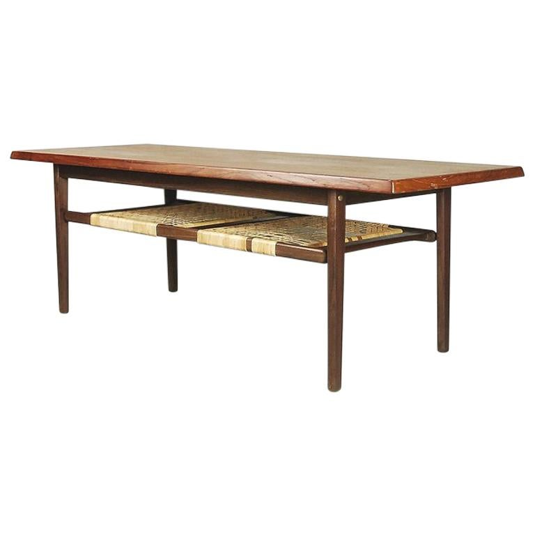 Danish Classic Teak Coffee Table with Cane Shelf, 1960s ...
