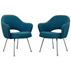 Mid-Century Modern Saarinen Knoll Sculptural Executive Office Chairs 1960s, Pair