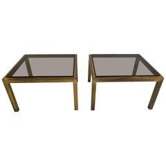 Set of Two Patinated Brass Side Tables