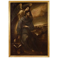 17th Century Oil On Canvas Spanish Religious Painting St. Francis With Angel