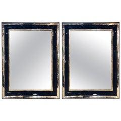 Pair of Monumental Mirrors Having Ebony Inserts All Beveled Art Deco Style