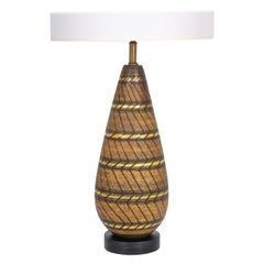 Aldo Londi Dark Brown Pottery Lamp with Hand Painted Geometric Design, 1950s