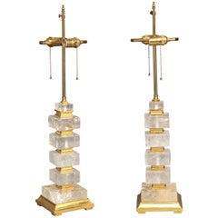 Fine Pair of Art Deco Style Giltwood and Rock Crystal Lamps, 20th Century