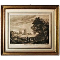 "Richard Earlom Engraving ""Landscape"" after Claude Le Lorrain, Framed"