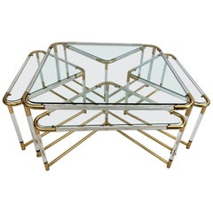 Coffee Table in Lucite and Gold Metal with Four Nesting Tables