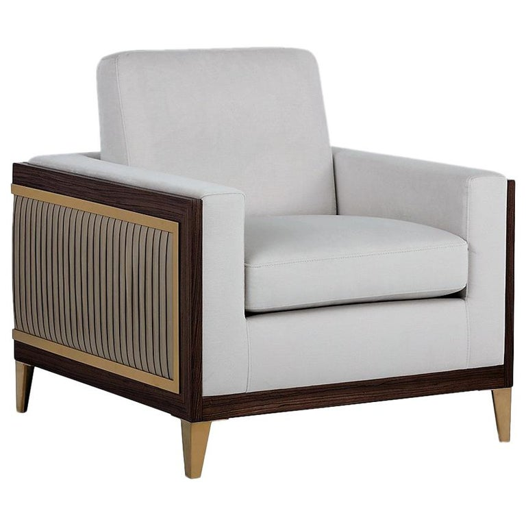 Serene, Contemporary Pleated Club Chair with Gold Detailing For Sale