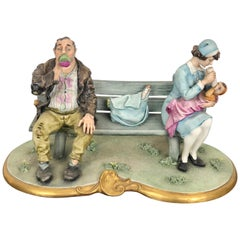 Capodimonte Porcelain Sculpture Tramp and a Nanny on a Bench, De Palmas, Italy