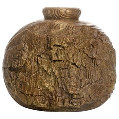 "Solid Bronze ""Cliff"" Vase or Vessel with Wood Texture in Gold Patina, in Stock"
