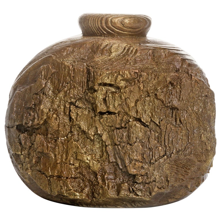"""Solid Bronze """"Cliff"""" Vase or Vessel with Wood Texture in Gold Patina, in Stock For Sale"""