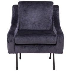 Midcentury Modern Dark Blue Velvet Armchair