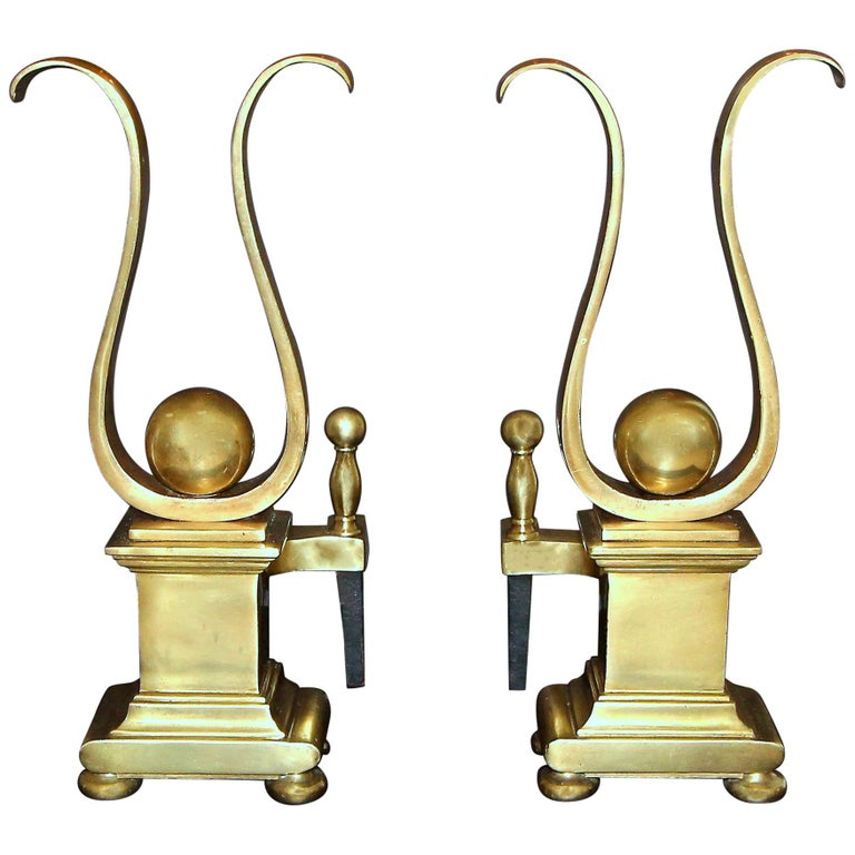 Pair French Solid Brass Lyre Shape Andirons For Sale