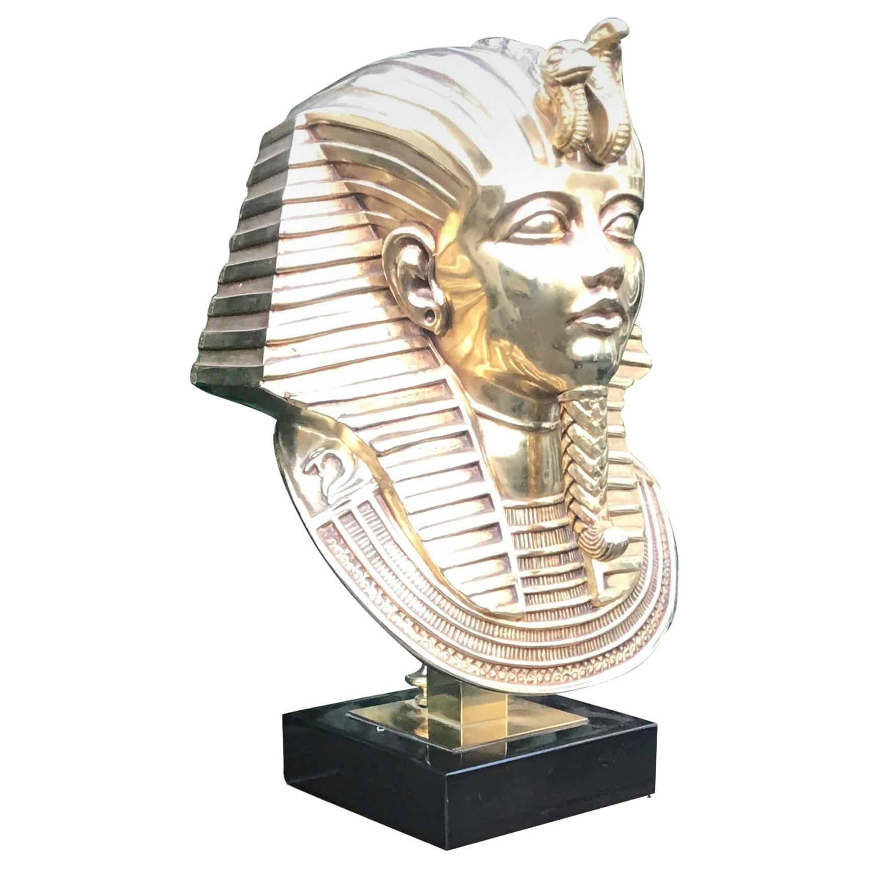 Stunning Pharaoh Toetanchamon Golden Coated Brass Bust Sculpture on Marble Base