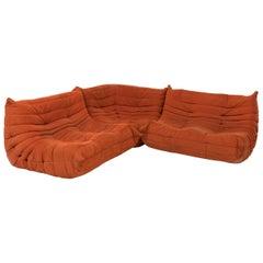 Togo Orange Fabric Sofa by Michel Ducaroy for Ligne Roset, Three-Piece Set