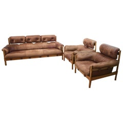 Brazilian Oak and Leather 3-Piece Seating Group, 1970s