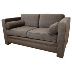 Mid-Century Modern Milo Baughman Style with New Mohair Wool Tuxedo Love Seat