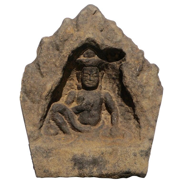 12th Century Khmer Sandstone Bhudda Shrine Schist  For Sale