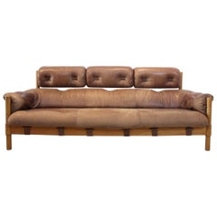 Brazilian Oak & Leather 3-Seat Sofa, 1970s