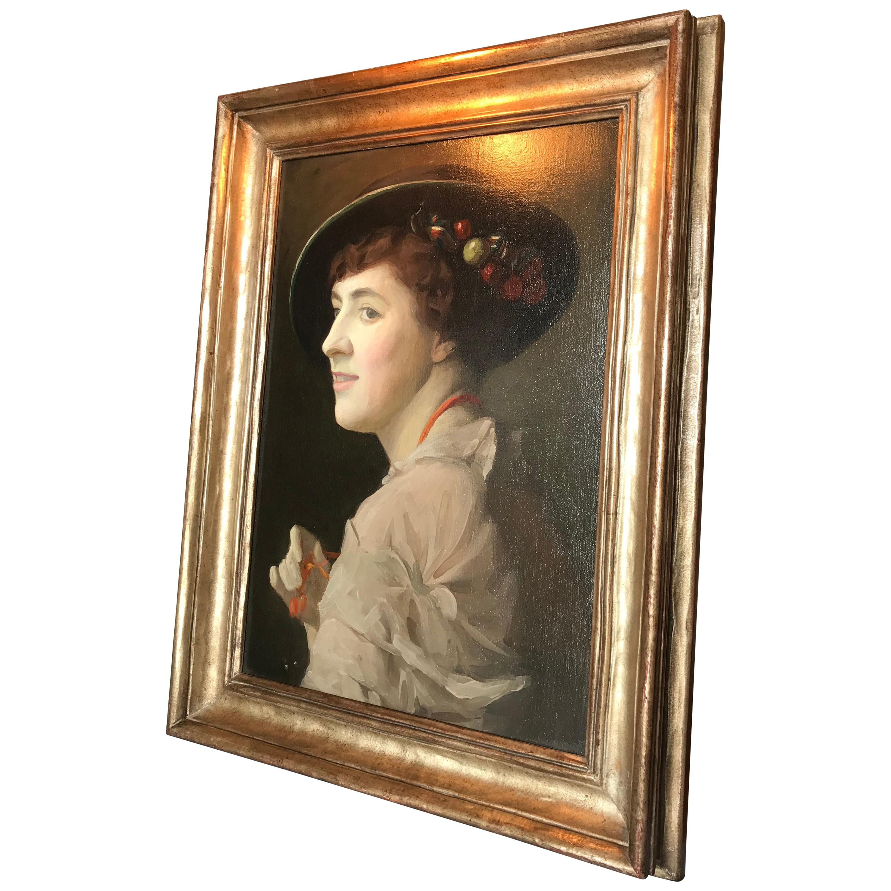 Portrait Lady Woman American painting wall art Antiques Los Angeles CA Framed
