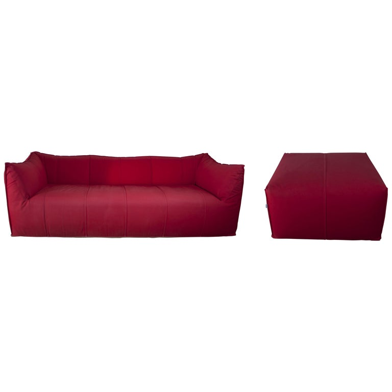 """Mario Bellini Sofa and Pouf Tribambola Red Canvas Lining """"Le Bambole"""" by B&B For Sale"""