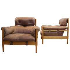 Brazilian Oak and Leather Pair of Lounge Chairs, 1970s