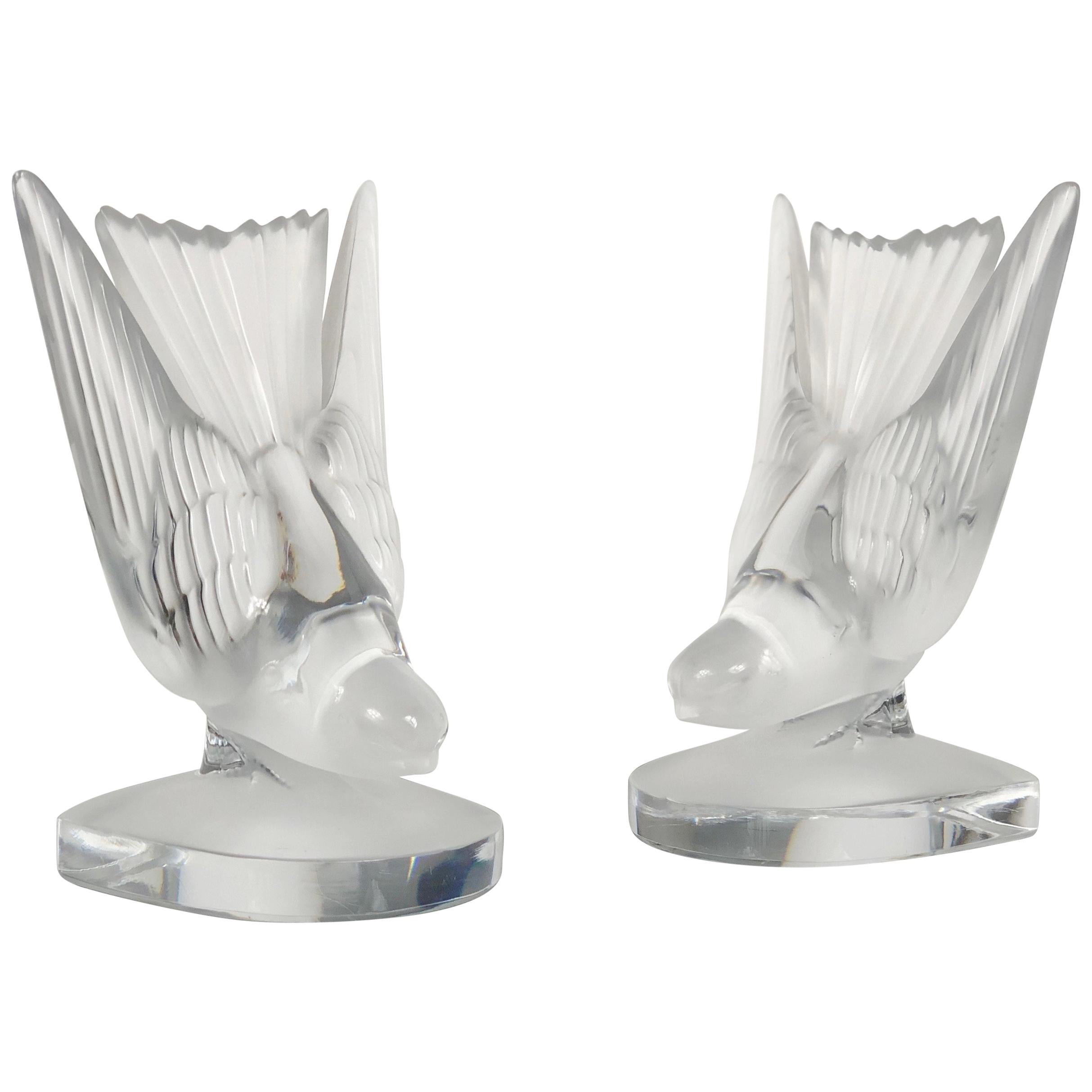 Pair of Lalique Crystal Bird Book Ends Sculpture Paperweight, France