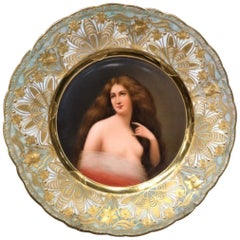 Exceptional Antique Hand Painted Royal Vienna Porcelain Plate by Wagner