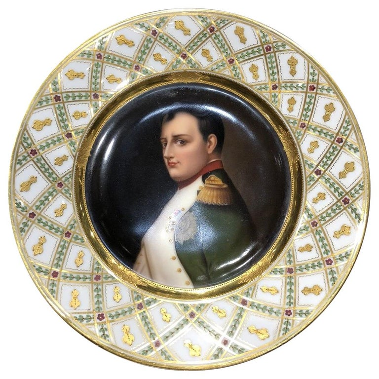 Exceptional Antique Hand Painted Royal Vienna Porcelain Plate of Napoleon For Sale