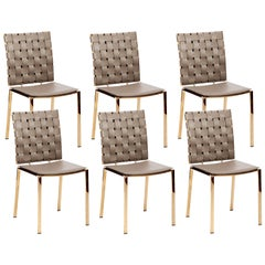 High Quality Taupe Leather Dining Chairs; Set of 6