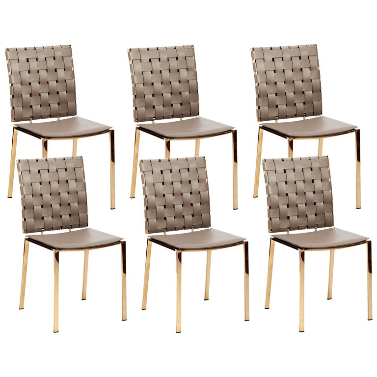 High Quality Taupe Leather Dining Chairs; Set of 6 For Sale