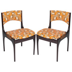 Pair of 1970s Italian Chairs Featuring Vintage Upholstery by LaDoubleJ