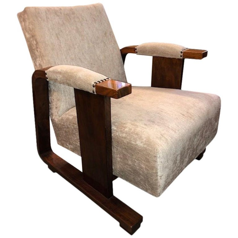 Pair of Hungarian Art Deco Armchairs in Walnut For Sale