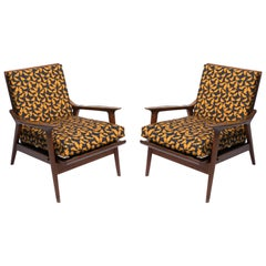 Pair of 1950s Italian Armchairs Featuring Vintage Print Upholstery by LaDoubleJ