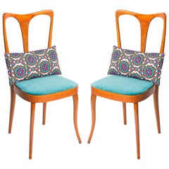 Four Midcentury Italian Birch Chairs with Vintage Print Pillows by LadoubleJ