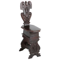 Italian Carved Walnut Sgabello Side Chair
