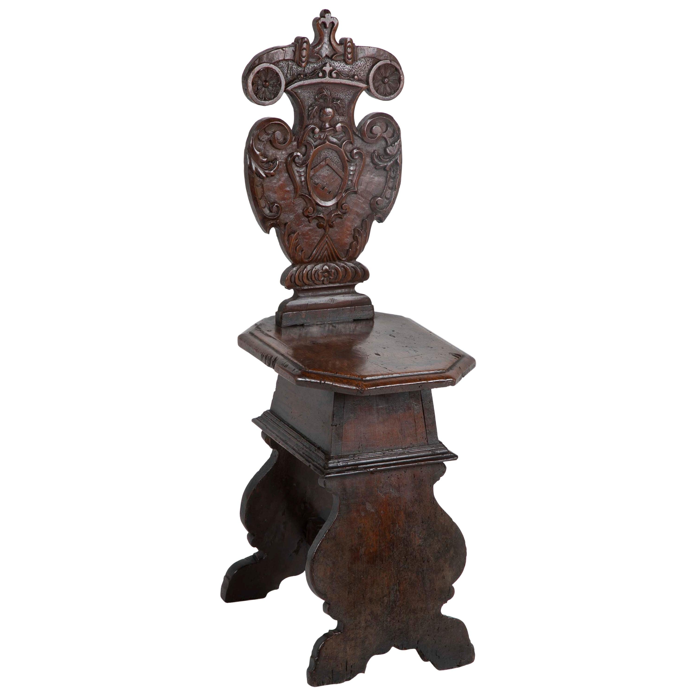 Italian Carved Walnut Sgabello Side Chair