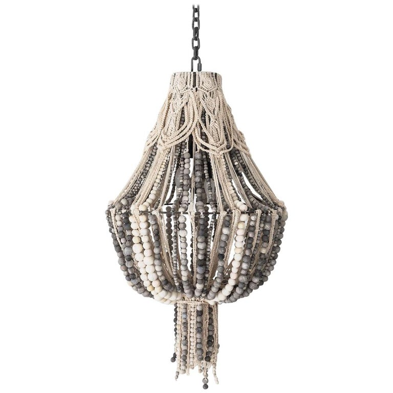 Klaylife Handmade Clay Beaded Macrame Chandelier or Hanging Light, 21st Century For Sale