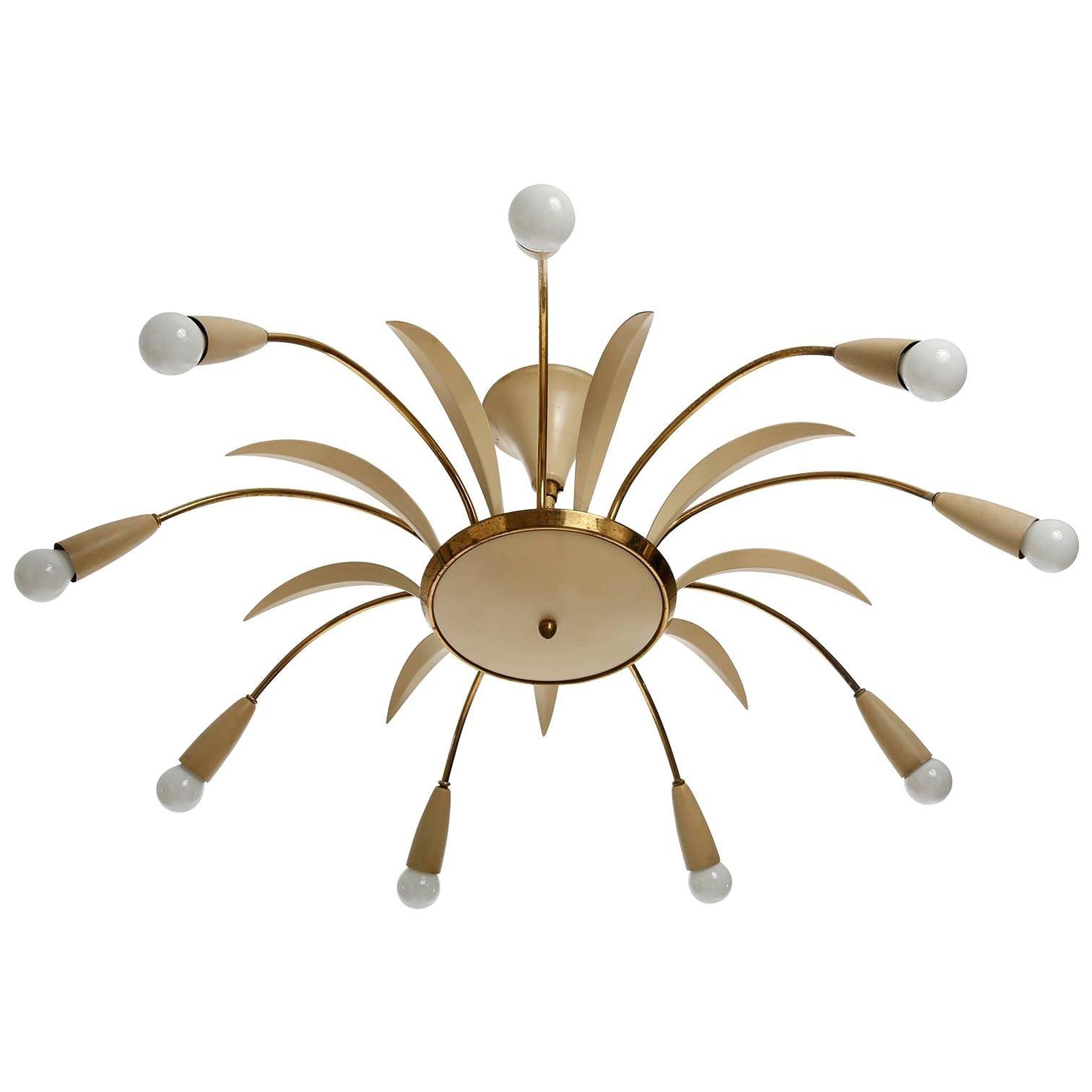 Brass Spider Light Fixture, Italy, 1960