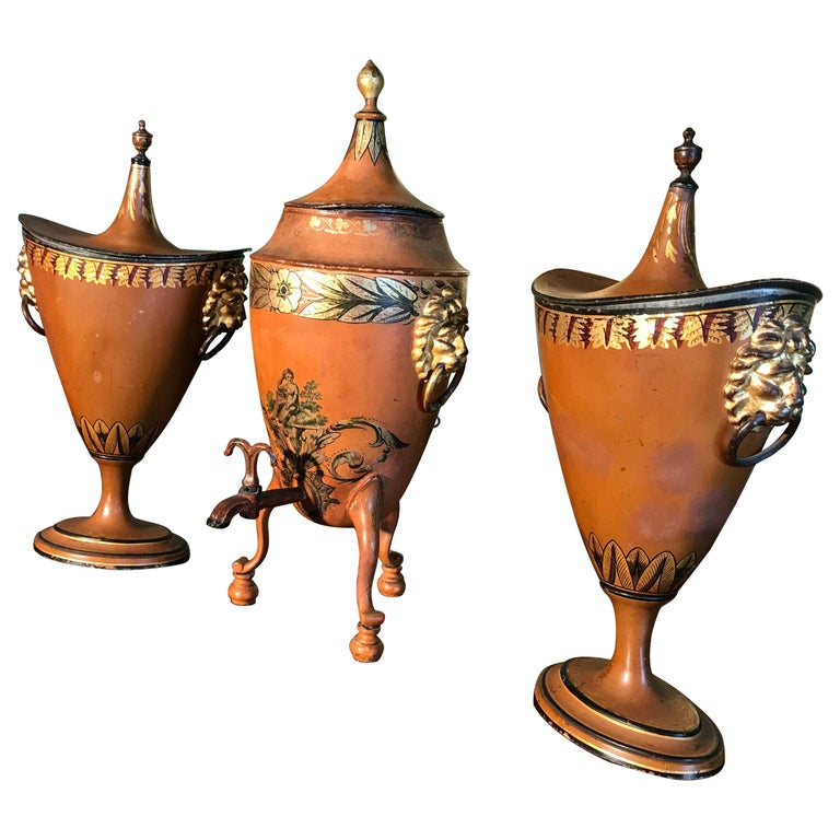 19th Century Three  English Regency Garniture Chestnut Urns tole Tea Urn LA For Sale