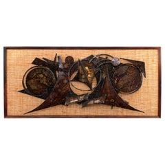 Wall Sculpture by Henrik Horst 1970s, Abstract Metal on Hessian Backed Frame