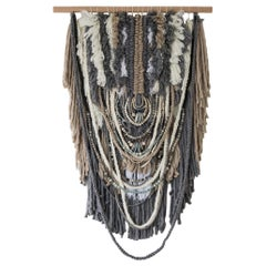 Extra Large Custom Wallhanging  African Clay Beads Combined with Wool and Yarn
